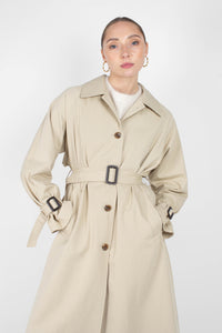 Beige single breasted back detail trench coat4