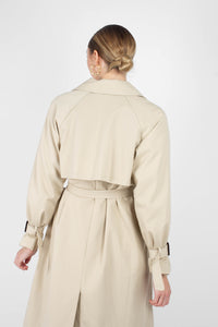 Beige single breasted back detail trench coat5