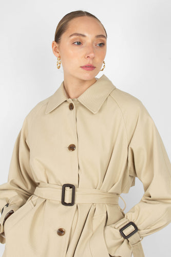 Beige single breasted back detail trench coat6