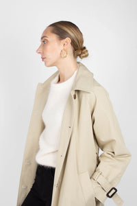 Beige single breasted back detail trench coat7