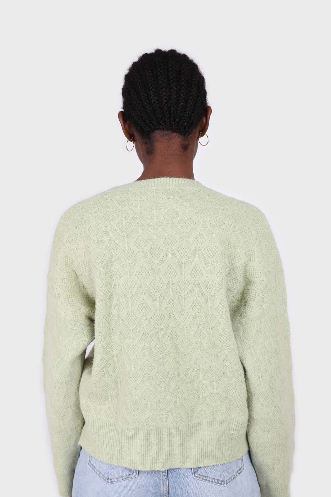 Mint green patterned brush crew neck jumper2