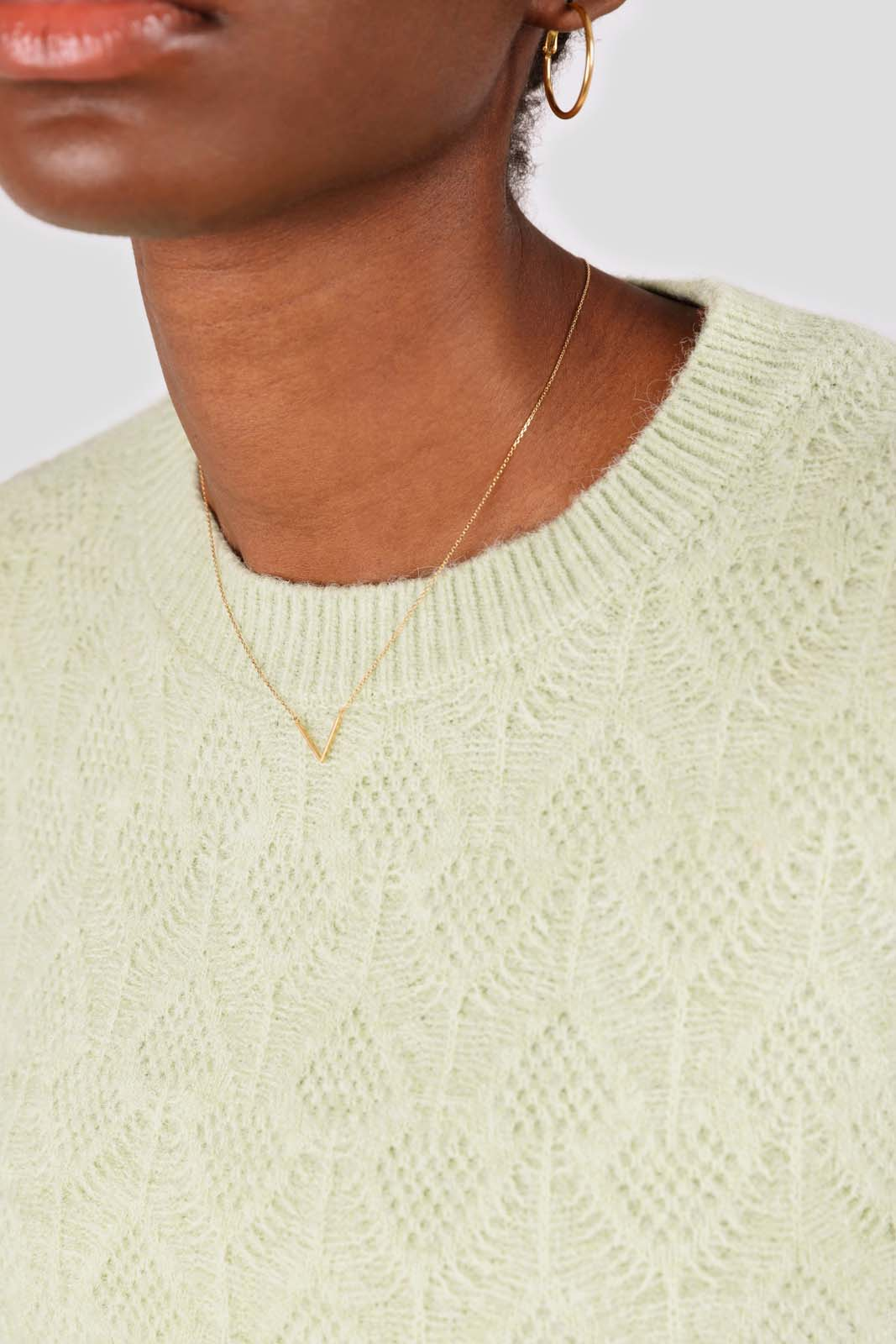 Mint green patterned brush crew neck jumper4