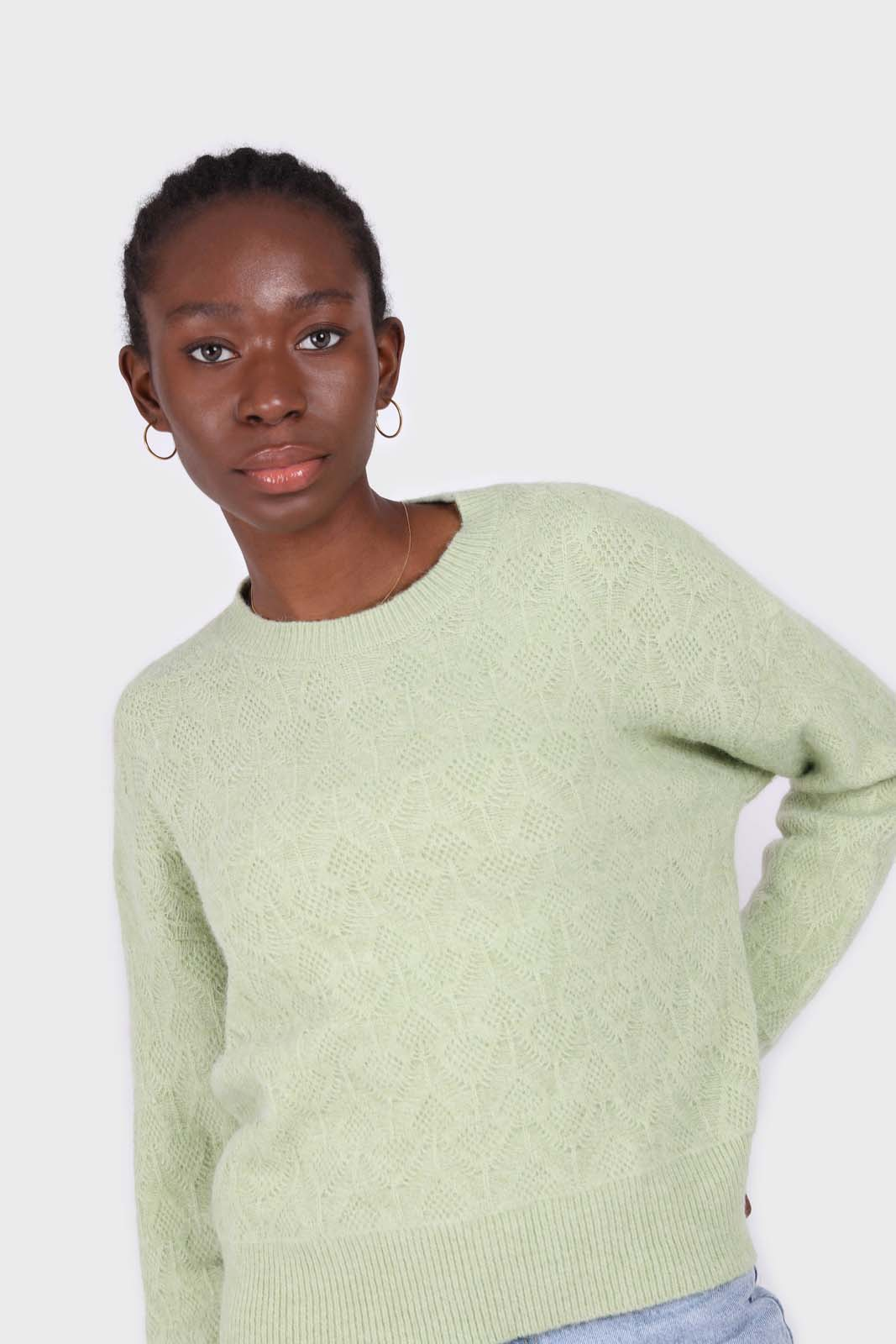Mint green patterned brush crew neck jumper5