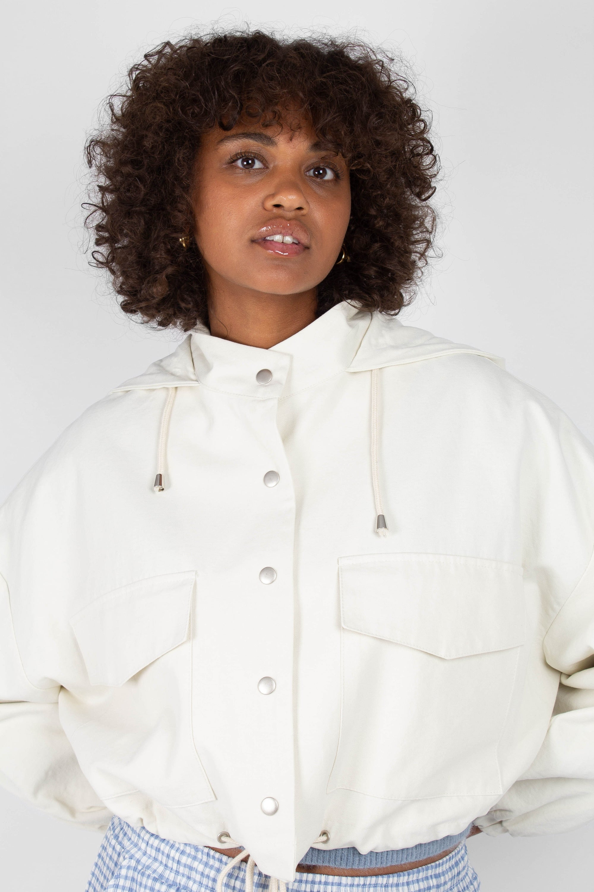 Ivory hooded patch pocket blouson