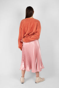 Pink satin pleated thick waistband skirt