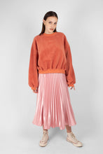 Load image into Gallery viewer, Pink satin pleated thick waistband skirt