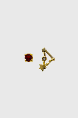 Gold birthstone zodiac earrings / Jan - Garnet wine red1sx