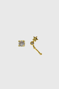 Gold birthstone zodiac earrings / Apr - Diamond1sx