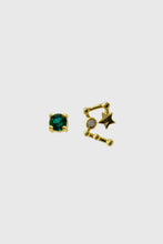 Load image into Gallery viewer, Gold birthstone zodiac earrings / May - Emerald green1sx