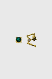 Gold birthstone zodiac earrings / May - Emerald green1sx