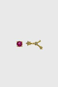 Gold birthstone zodiac earrings / Jul - Ruby red1sx