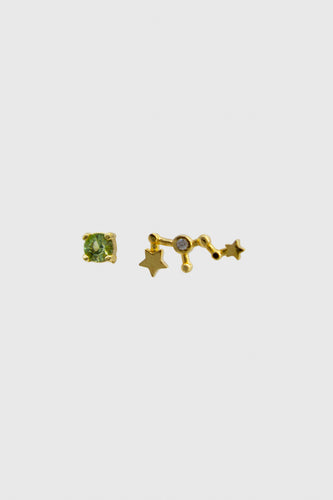 Gold birthstone zodiac earrings / Aug - Peridot light green1sx