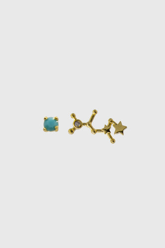 Gold birthstone zodiac earrings / Dec - Turquoise1sx