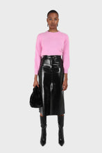 Load image into Gallery viewer, Black PVC front slit gold button maxi skirt6