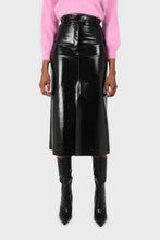 Load image into Gallery viewer, Black PVC front slit gold button maxi skirt8
