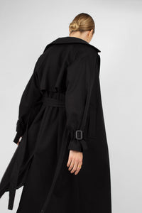 Black single breasted back detail trench coat2