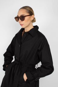 Black single breasted back detail trench coat4