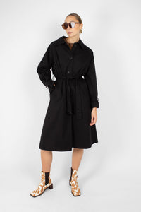 Black single breasted back detail trench coat1sx