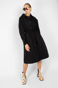 Black single breasted back detail trench coat3