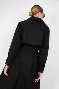 Black single breasted back detail trench coat5
