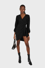 Load image into Gallery viewer, Black plunging neck wrap waist midi dress1sx