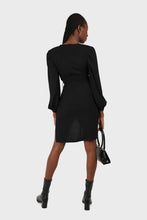 Load image into Gallery viewer, Black plunging neck wrap waist midi dress2