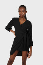 Load image into Gallery viewer, Black plunging neck wrap waist midi dress3