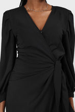 Load image into Gallery viewer, Black plunging neck wrap waist midi dress6
