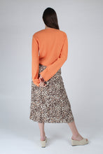 Load image into Gallery viewer, 23007_Ivory and metallic brown animal print bias cut midi skirt_MFBBA1