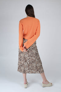 23007_Ivory and metallic brown animal print bias cut midi skirt_MFBBA1