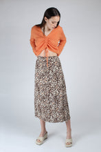 Load image into Gallery viewer, 23007_Ivory and metallic brown animal print bias cut midi skirt_MFFBA1