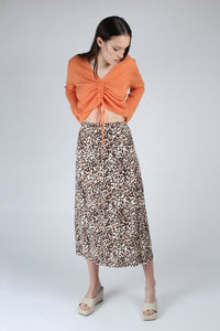 23007_Ivory and metallic brown animal print bias cut midi skirt_MFFBA1