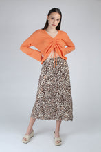 Load image into Gallery viewer, 23007_Ivory and metallic brown animal print bias cut midi skirt_MFFBA2