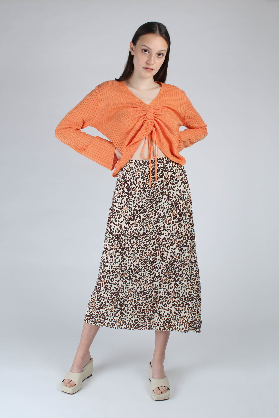 23007_Ivory and metallic brown animal print bias cut midi skirt_MFFBA2