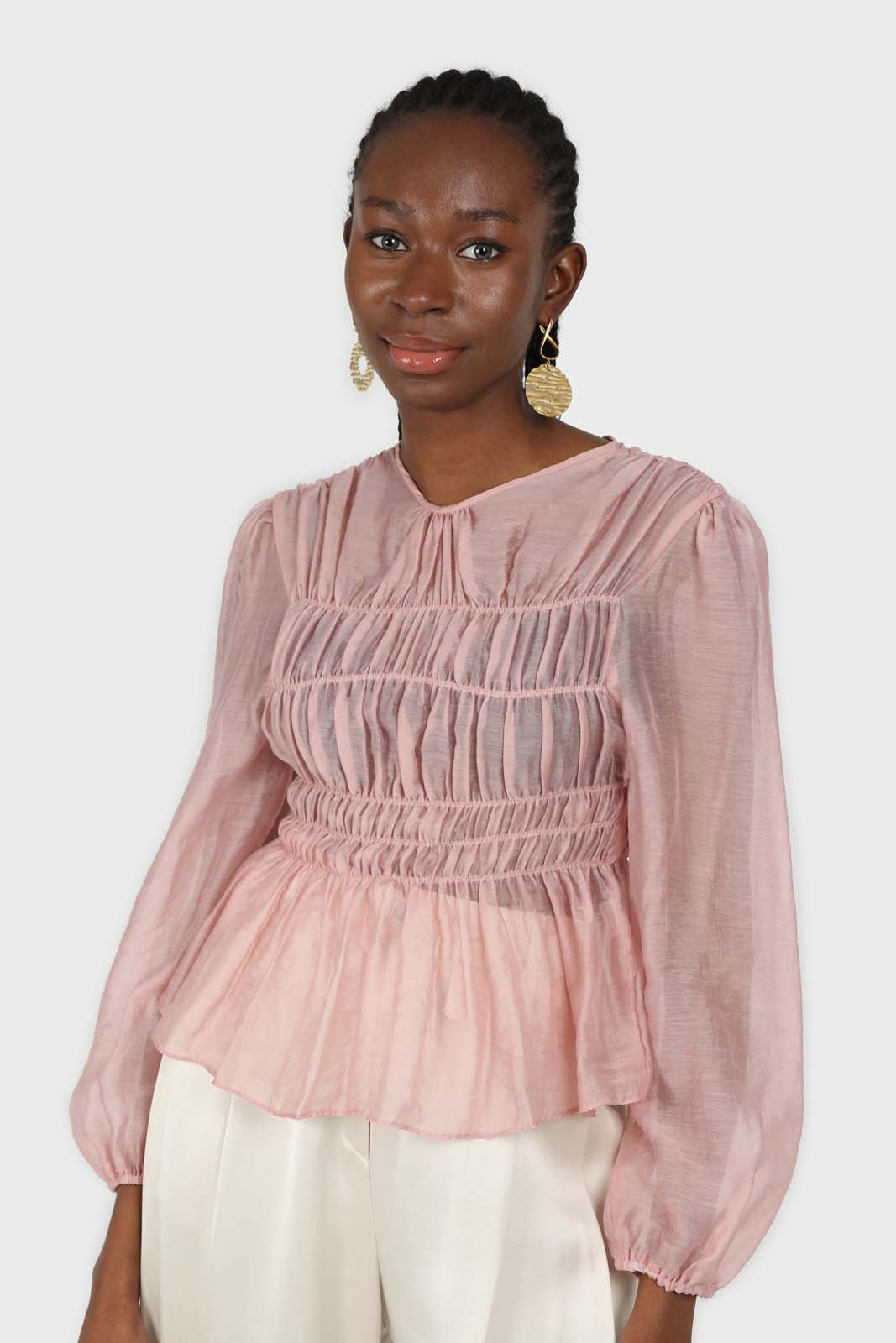 Pink silky ruched long sleeved blouse 1