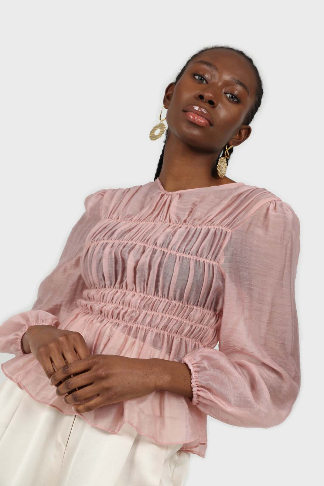 Pink silky ruched long sleeved blouse 3