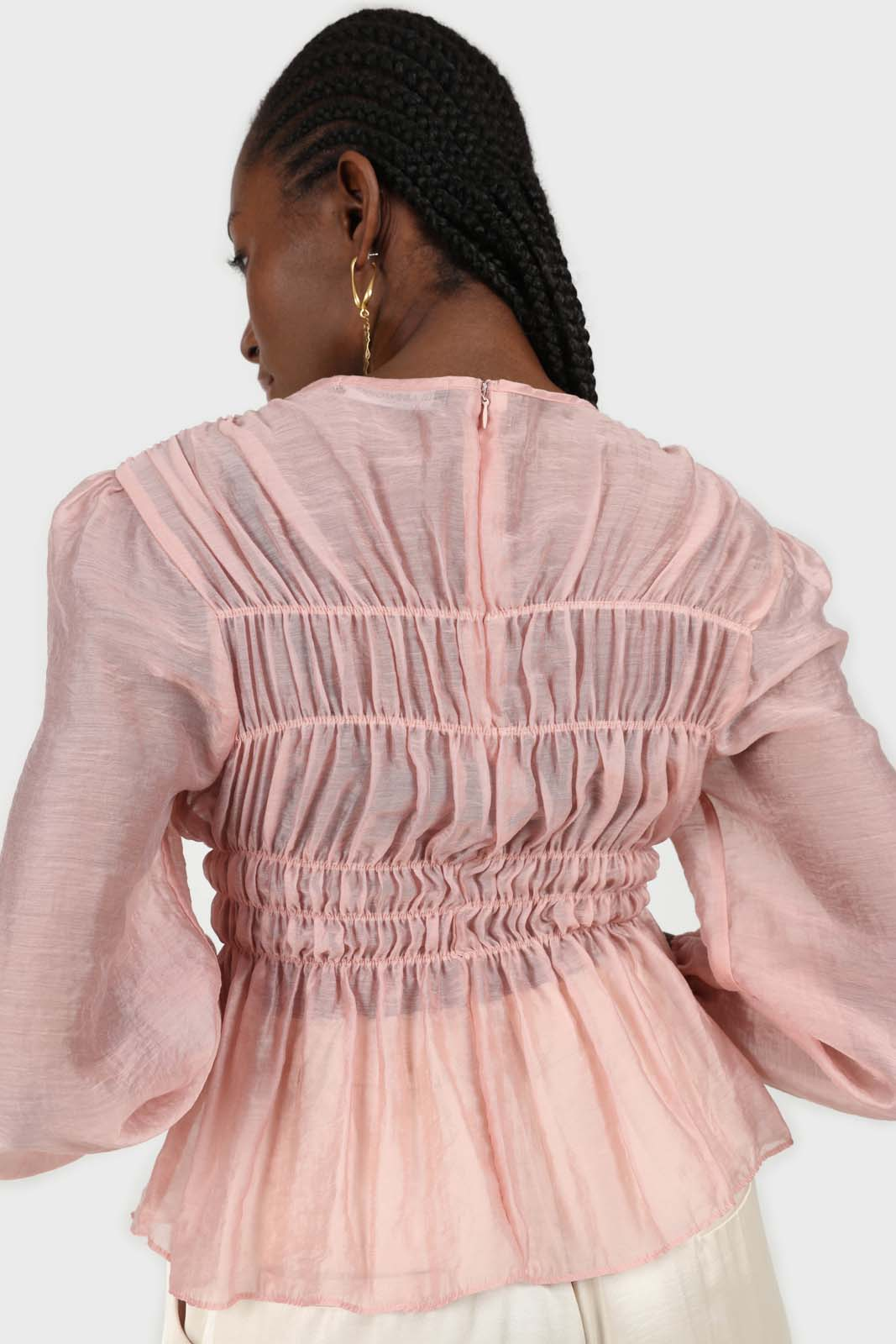 Pink silky ruched long sleeved blouse 4
