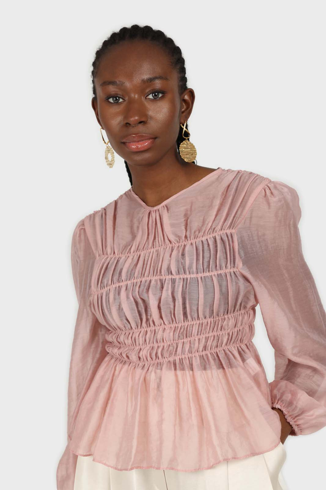 Pink silky ruched long sleeved blouse sx
