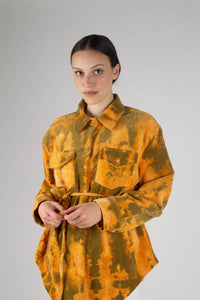 23015_Orange and khaki tie dye tie waist shirt jacket_MCFBA1