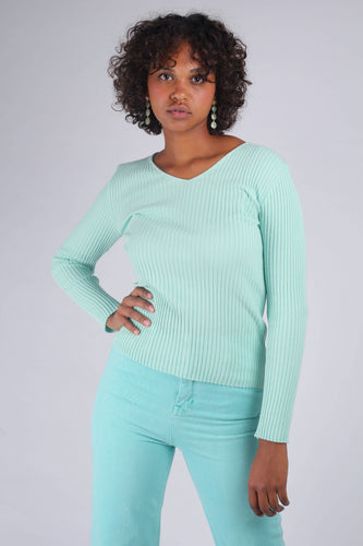 Mint green V-neck ribbed long sleeved knit_MCFBA3