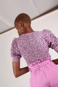Lilac and black leopard print puff sleeve top_3