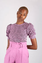Load image into Gallery viewer, Lilac and black leopard print puff sleeve top_1