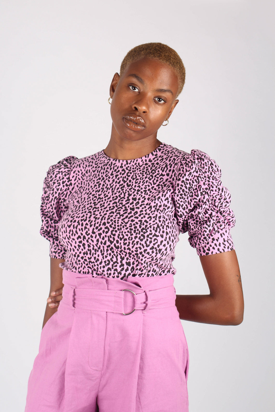 Lilac and black leopard print puff sleeve top_1
