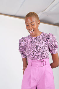 Lilac and black leopard print puff sleeve top_4