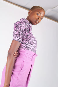 Lilac and black leopard print puff sleeve top_5