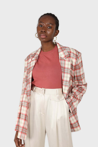 Bright pink grey and white checked blazer1sx