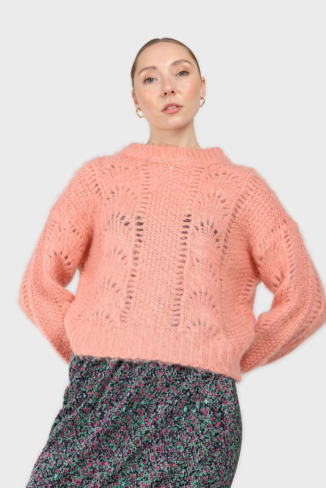 Pink lace knit fuzzy jumper1sx