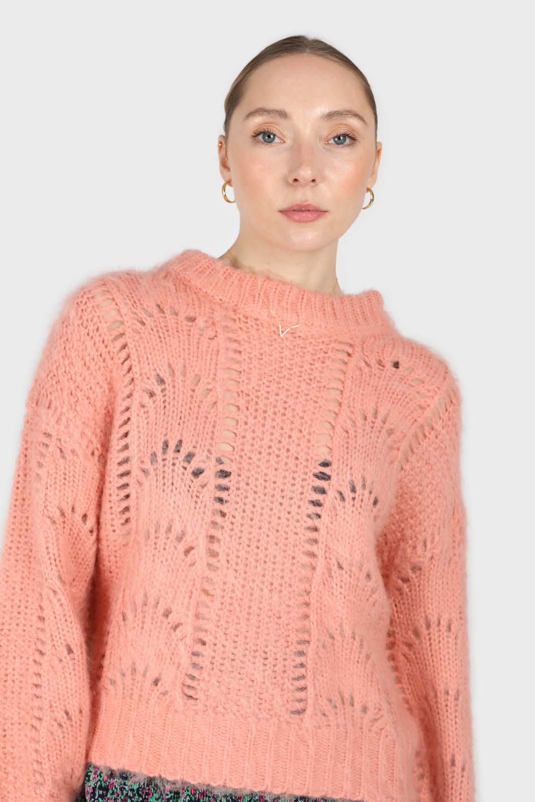 Pink lace knit fuzzy jumper2