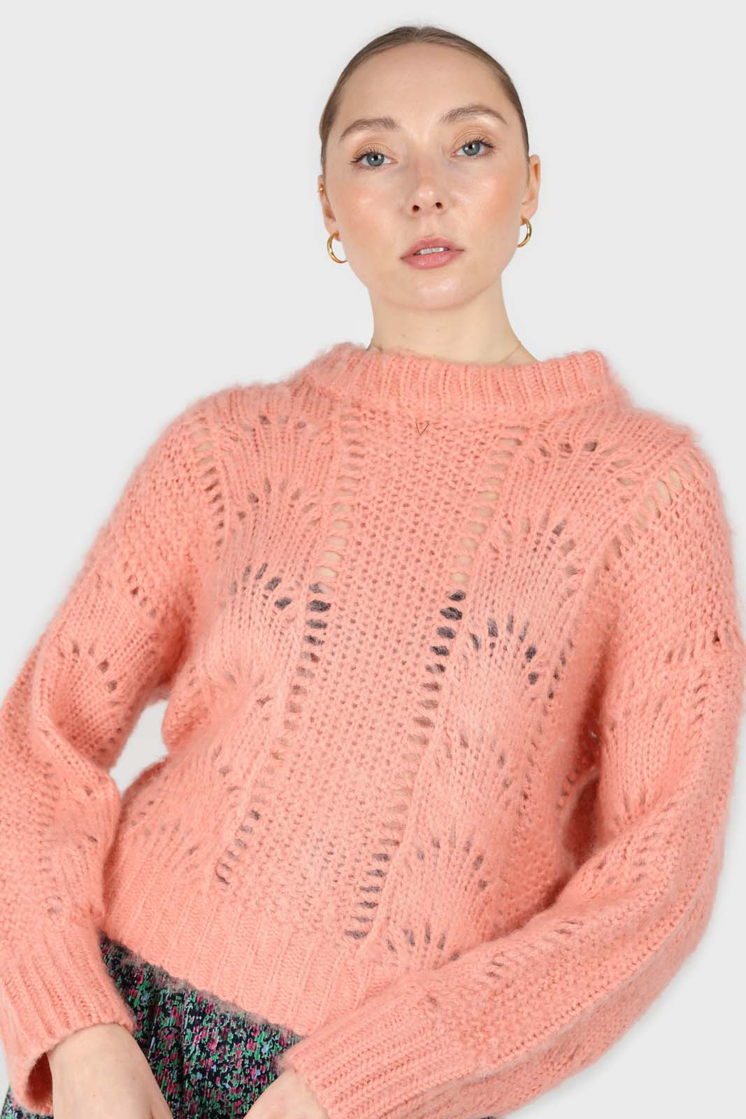 Pink lace knit fuzzy jumper3