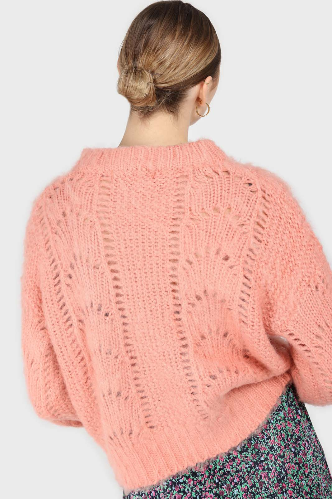 Pink lace knit fuzzy jumper4